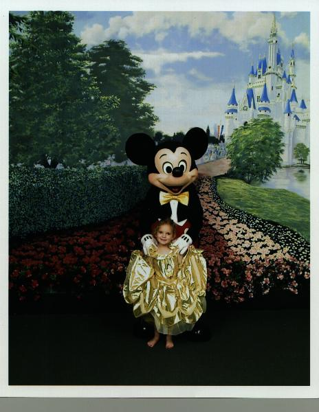Jessica with Mickey, August 1999